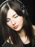 Beautiful Headphones Girl Stock Photography