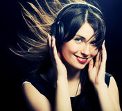 Beautiful Headphones Girl Royalty Free Stock Photography
