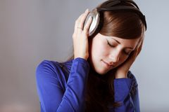 Beautiful Headphones Girl Stock Image