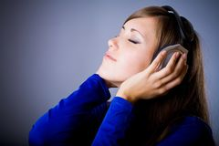 Beautiful Headphones Girl Royalty Free Stock Photo