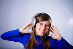 Beautiful Headphones Girl Royalty Free Stock Images