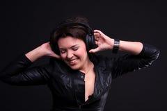 Beautiful Headphones Girl Stock Image