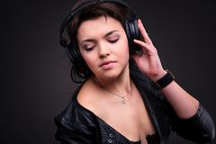 Beautiful Headphones Girl Royalty Free Stock Photos