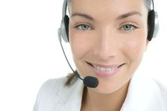 Beautiful headset businesswoman portrait in white Royalty Free Stock Image