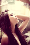 Beautiful headshot of latina model tilting head Stock Image