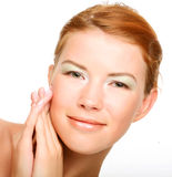 Beautiful health woman face with clean purity skin Stock Images
