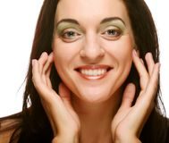 Beautiful health woman face with clean purity skin Stock Photo