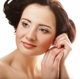 Beautiful health woman face with clean purity skin - isolated on Stock Photos