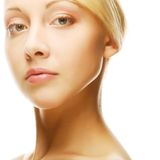 Beautiful health woman face with clean purity skin Stock Photos