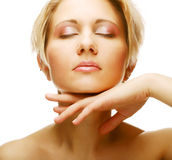 Beautiful health woman face with clean purity skin Royalty Free Stock Photos