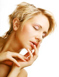 Beautiful health woman face with clean purity skin Royalty Free Stock Images