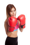 Beautiful healthy Asian girl with red boxing glove Royalty Free Stock Photos