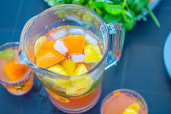 Beautiful Healthy Citrus Lemonade, Summer Drink, Summertime, Party in the Garden, Top View Stock Photography