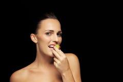 Beautiful healthy eating caucasian woman Stock Photos