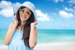 Beautiful healthy female face outdoor portrait relaxing outside stock images