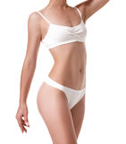 Beautiful healthy fit slim female body on white background Royalty Free Stock Photography