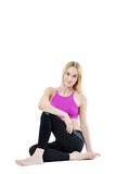 Healthy fitness woman posing isolated on white Royalty Free Stock Photos
