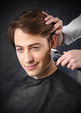 Beautiful healthy hair, the man at the hairdresser Royalty Free Stock Image