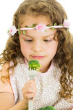 Beautiful healthy little curly girl enjoying Stock Photography