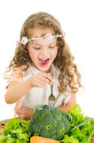 Beautiful healthy little curly girl enjoying Stock Photo