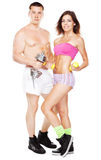 Beautiful healthy-looking couple in sports outfit Royalty Free Stock Photos