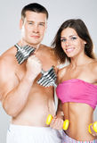 Beautiful healthy-looking couple in sports outfit Royalty Free Stock Photo