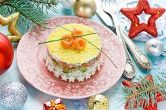 Beautiful healthy sushi salad on Christmas festive table stock image
