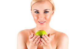 Beautiful healthy woman with apple Royalty Free Stock Image