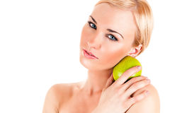 Beautiful healthy woman with apple Stock Photo