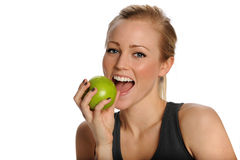 Beautiful Healthy Woman Eats Apple Royalty Free Stock Image