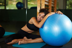 beautiful and healthy woman enjoying time at gym Royalty Free Stock Images