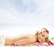 Attractive woman getting spa treatment isolated on white Royalty Free Stock Photo