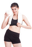 Beautiful healthy woman holding glass of milk Stock Photography