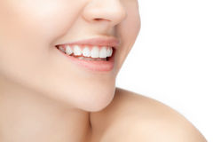 Beautiful and healthy woman smile, close-up Royalty Free Stock Images