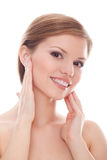 Beautiful healthy woman touching her skin Royalty Free Stock Image