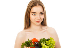 Beautiful healthy woman with vegetables isolated. Beautiful woman with vegetables isolated Stock Photos