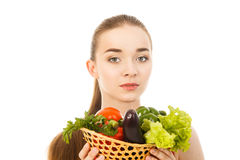Beautiful healthy woman with vegetables isolated. Beautiful woman with vegetables isolated Stock Photography