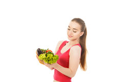 Beautiful healthy woman with vegetables isolated. Beautiful woman with vegetables isolated Royalty Free Stock Images