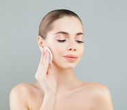 Beautiful Healthy Woman with White Cotton Pads. Hygienic stock image