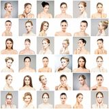 Beautiful, healthy and young female portraits collection Royalty Free Stock Photo