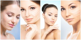Beautiful, healthy and young female portraits. Collage of different women faces. Face lifting, skincare, plastic surgery royalty free stock photos