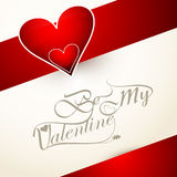 Beautiful heart be my valentine's day card calligraphy font Royalty Free Stock Photography
