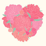 Beautiful heart decorated by flowers peony. I love you. Stock Images