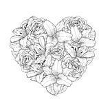 Beautiful heart decorated by flowers, roses and li Royalty Free Stock Photos