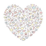 Beautiful heart from different objects Stock Images