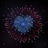 Beautiful heart-firework. Bright romantic firework,  on black background. Light love decoration salute for. Valentine Day celebration. Symbol of holiday Stock Images
