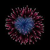 Beautiful heart-firework. Bright romantic firework, isolated on black background. Light love decoration salute for. Valentine Day celebration. Symbol of holiday Royalty Free Stock Photo