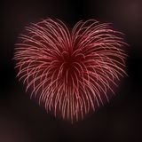 Beautiful heart-firework. Bright romantic firework, isolated on black background. Light love decoration salute for. Valentine Day celebration. Symbol of holiday Stock Image