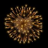 Beautiful heart-firework. Gold romantic firework, isolated on black background. Light love decoration salute for. Valentine Day celebration. Symbol of holiday Royalty Free Stock Photo