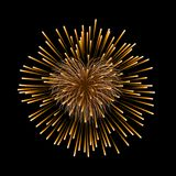 Beautiful heart-firework. Gold romantic firework, isolated on black background. Light love decoration salute for. Valentine Day celebration. Symbol of holiday Stock Image
